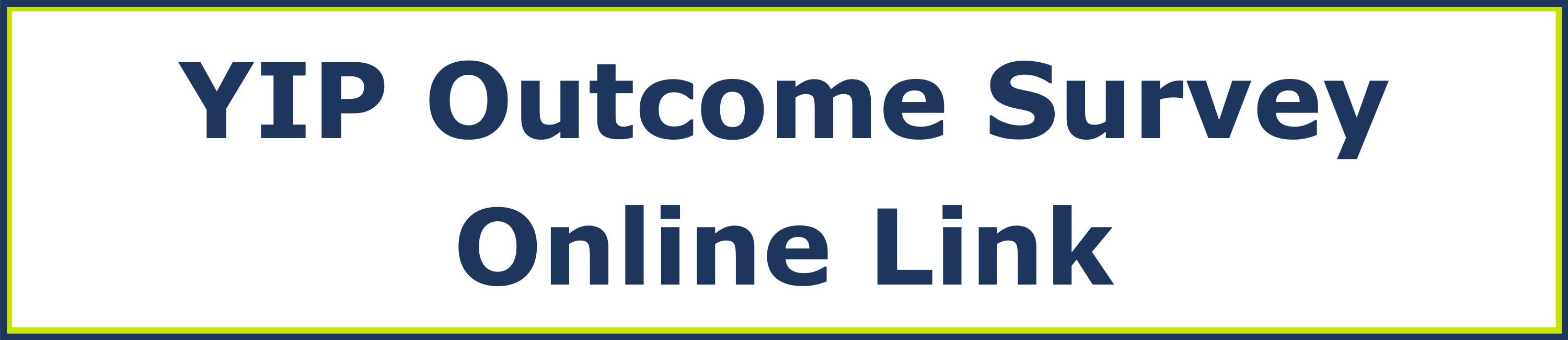 YIP outcome survey online link.